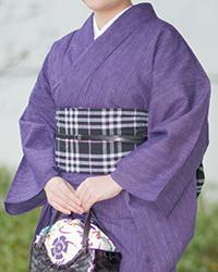 阿波しじら織り 木綿 着物 単衣きもの《仕立代込み》紫に極細白縞柄 No.101 【受注生産】【送料無料】