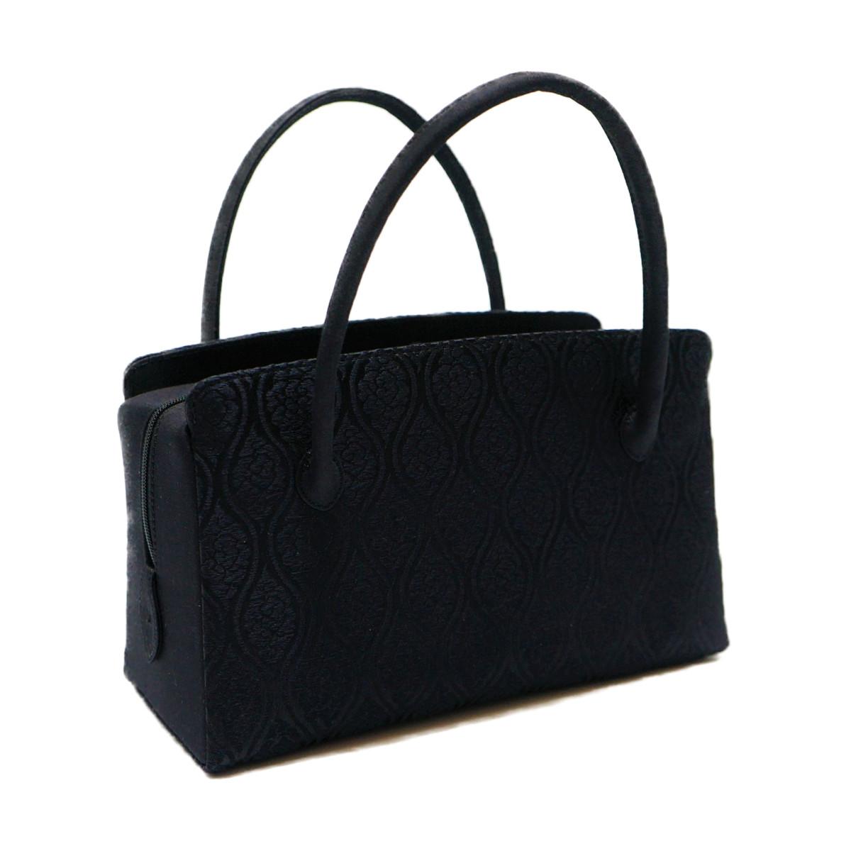 和装バッグ 利休バッグ 小サイズ喪服用 正絹西陣織物