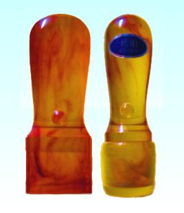 【メール便送料無料】会社印鑑2本セット(皮袋) 琥珀(角印21.0mm会社実印(寸胴)18.0mm)【起業応援セット】送料込