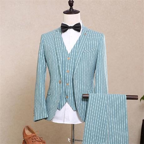 【サイズ有S/M/L/XL/2XL/3XL】ストライプ 1ボタンスリムスーツ ビジネススーツ シングル メンズスーツ 紳士服 suit ベスト付き ブルースーツ メンズ 大きいサイズ おしゃれスーツdg598f0f0h2/代引不可 02P09Jul16