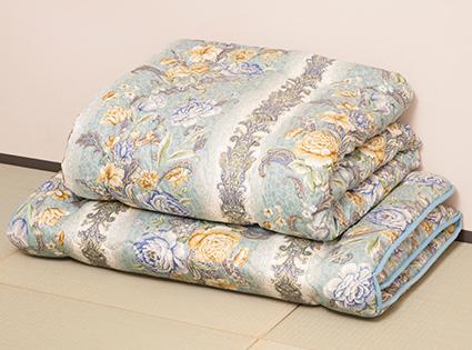 【羊毛組ふとん 柄込】 羊毛混 掛ふとん 敷きふとん ふとんセット 羊毛 めん綿 エステル 吸湿性 保湿性 セミダブルロング 自然な眠り