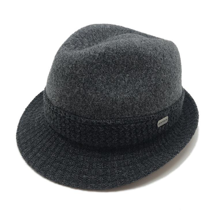 【 STETSON 】ステットソン マニッシュ 中折れハット帽子 大きい サイズ 日本製 ハット メンズ 秋 冬 ネイビー チャコール ブラック ウール おしゃれ こだわり 【 ラッピング 送料無料 】 ギフト プレゼント