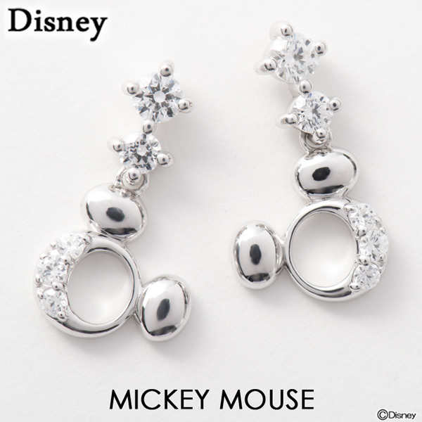 72b411807 Sweet Tea Time Disney Pierced Earrings Mickey Mouse Silver. 18k White ...