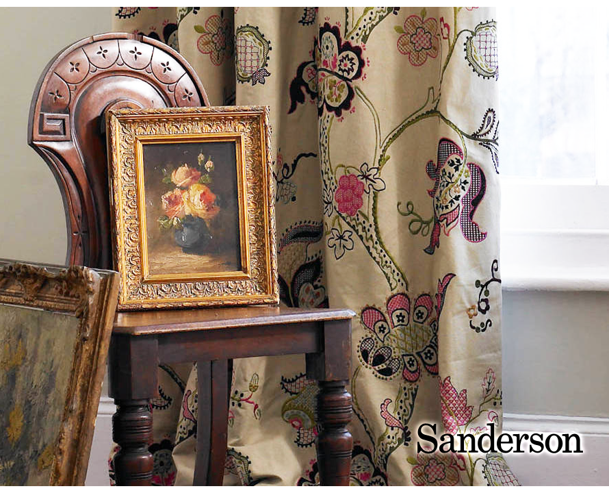 日本未発売 英国王室御用達の伝統的ブランド Sandersonロズリン エンブロイダリー Roslyn 輸入ファブリック サンダーソン Embroidery イギリス製 お買い得