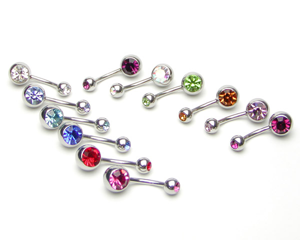 Body piercing 14 G double jewel banana barbell belly button piercing ear piercing body piercing 316 l surgical stainless steel body piercing he Sophias body piercing metal allergy piercing