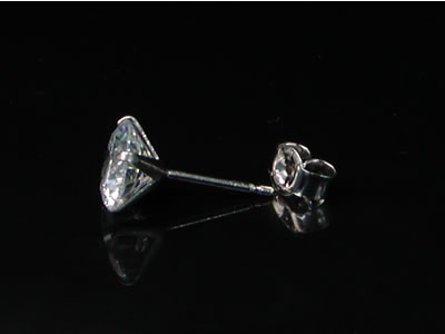 925 Sterling Silver round juel Pierce 5-7 mm (sold 1) stainp.