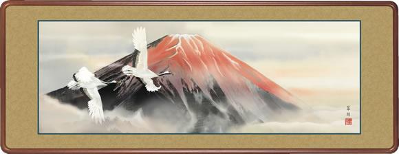 隅丸和額-赤富士双鶴/鈴木 翠朋 [長押 壁掛け 女桑額 慶祝縁起画額]送料無料