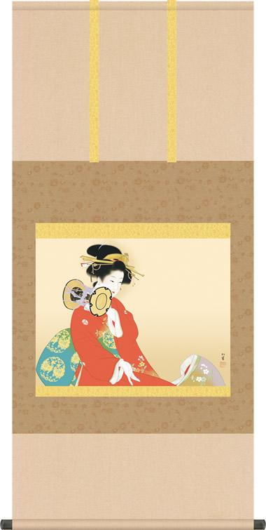 掛け軸 掛軸 鼓の音 つづみのね 上村松園 尺五横 床の間 モダン 巨匠 名作名画複製画 [送料無料]