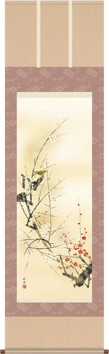 掛け軸 掛軸-紅白梅に鶯/田村 竹世(尺五・桐箱・風鎮付)和室、床の間に飾る モダンに掛物を吊るす