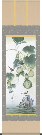 掛け軸-六瓢/依田流石(尺五 桐箱 緞子)花鳥画掛軸 [送料無料]