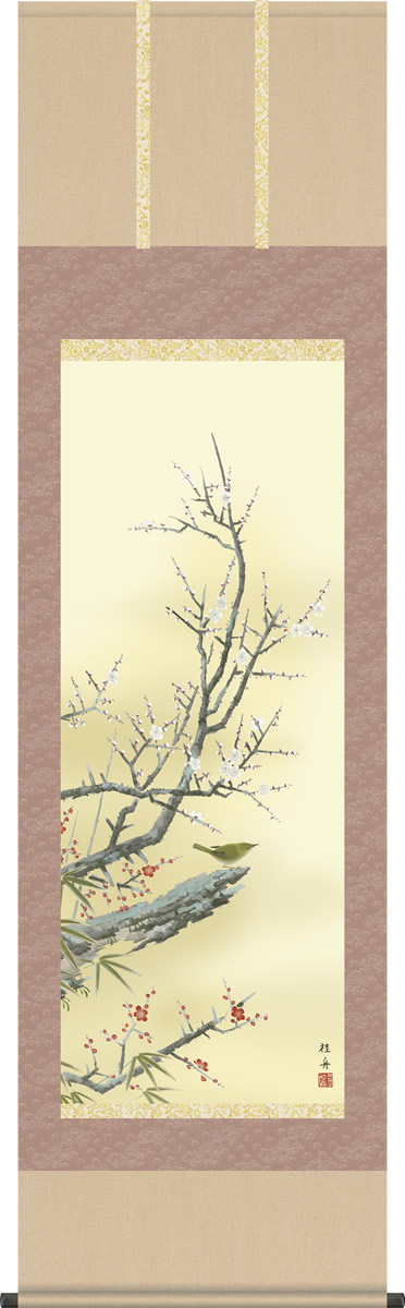 掛軸 掛け軸-紅白梅に鶯[春]/長江桂舟 花鳥画掛軸送料無料(尺五 桐箱 緞子)可憐な梅花の花鳥画掛け軸 モダンに掛物を吊るす