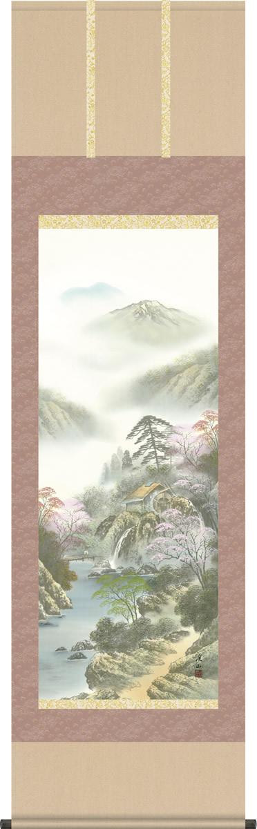 掛軸 掛け軸 四季揃の[春] 伊藤渓山 山水画掛軸送料無料 尺五 桐箱 緞子 モダンに掛物を吊るす
