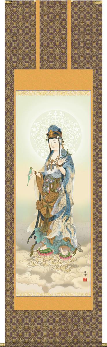 掛け軸-雲上観音/高畠 周峰(尺五)法事・法要・供養・仏事での由緒正しい仏画作品 モダンに掛物をつるす