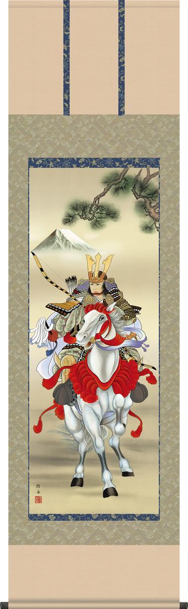 掛け軸-白馬武者/長江 桂舟(尺五)こどもの日の飾り、端午の節句画掛軸、男児の成長を祝う、送料無料、伝統の床の間飾り、初節句祝い、男の子の健やかな成長を願う