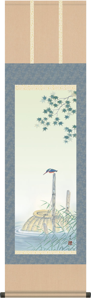 掛け軸 掛軸-楓にかわせみ/井川 洋光(尺三 化粧箱)和室、床の間に飾る モダンに掛物を吊るす [送料無料]