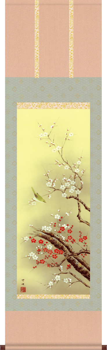 掛軸 掛け軸-紅白梅に鶯/田村竹世 花鳥画掛軸送料無料(小さめ尺三 化粧箱 緞子)紅白梅の花鳥画掛け軸 モダンに掛物を吊るす