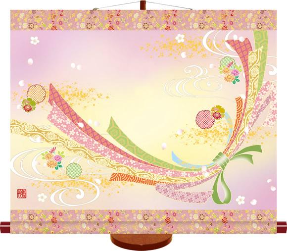 桃の節句掛もの飾り-幸福熨斗目/西尾 香悦(専用樹脂製飾りスタンド付き)節句のお祝いをより豪奢に飾る