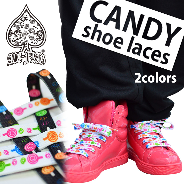 Magic ACE-FLAG two-color development your shoelaces shoes rattle and change of shoes thong shoe laces shoes thong Accessories Shoes thong pattern shoelaces black and Super CUTE! colorful candies pattern shoe laces (^ _-)-☆ ◆