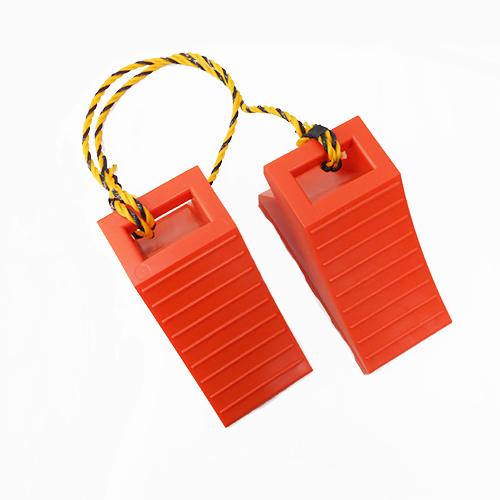 タイヤ歯止め TSS-オレンジ 車止めダブル(2個組の1.2Mロープ付)5セット
