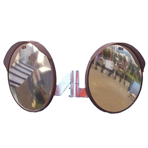 カーブミラー 丸型600φ アクリル製ミラー2面鏡セット(道路反射鏡) HPLA-丸600W茶