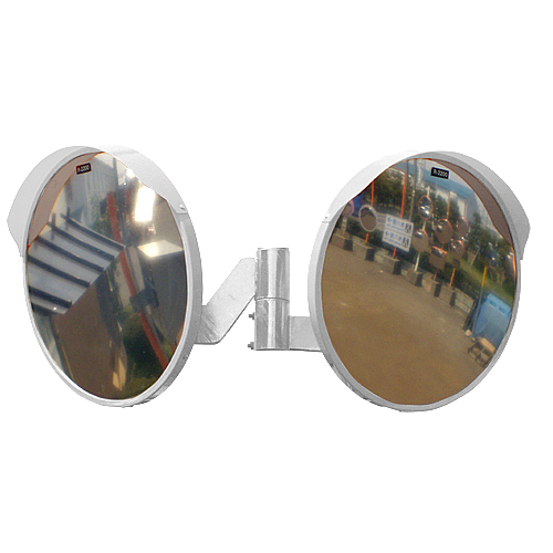 カーブミラー 丸型600φ アクリル製ミラー2面鏡セット(道路反射鏡) HPLA-丸600W白 二面鏡ミラー(金具付)のみ 白