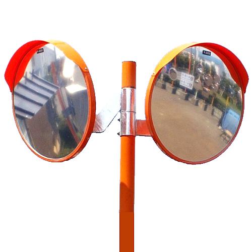 カーブミラー 丸型600φ ステンレス製ミラー2面鏡と支柱セット(道路反射鏡) HPLS-丸600WP オレンジ