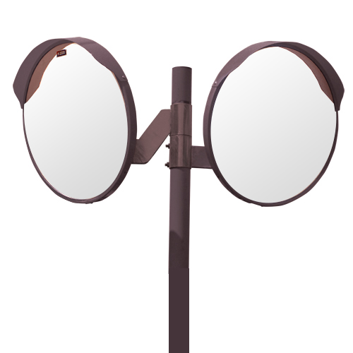 カーブミラー 丸型600φ アクリル製ミラー2面鏡と支柱セット(道路反射鏡) HPLA-丸600WP茶 二面鏡ポール付 茶