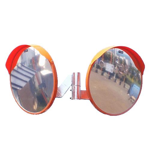 カーブミラー 丸型800φ アクリル製ミラー2面鏡セット(道路反射鏡) HPLA-丸800Wオレンジ 丸型800φ二面鏡ミラー(金具付)のみ オレンジ