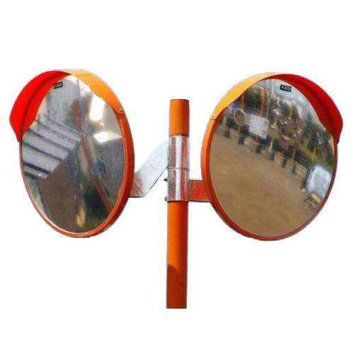 カーブミラー 丸型800φ アクリル製ミラー2面鏡と支柱セット(道路反射鏡) HPLA-丸800WPオレンジ