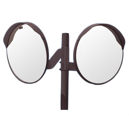 カーブミラー 丸型800φ アクリル製ミラー2面鏡と支柱セット(道路反射鏡) HPLA-丸800WP茶