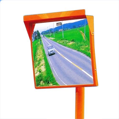 カーブミラー 角型600mm×500mm アクリル製ミラー 支柱セット(道路反射鏡) HPLA-角5060SPオレンジ