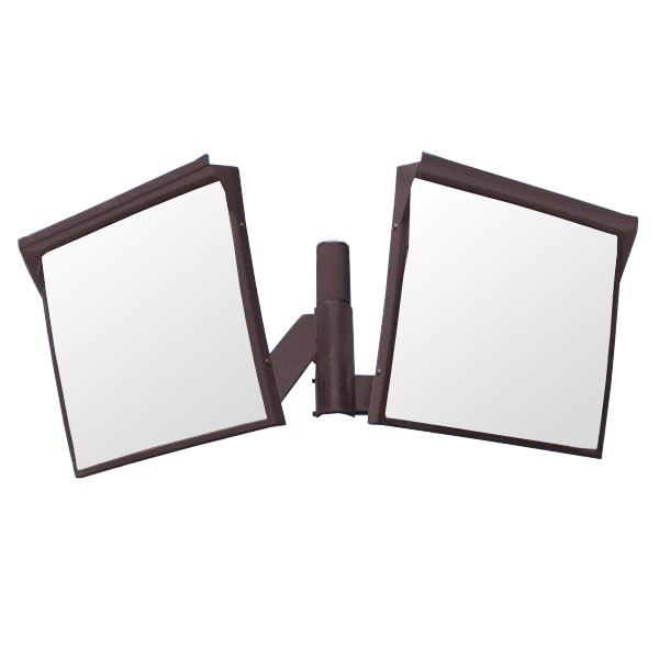 カーブミラー 角型600mm×500mm アクリル製ミラー2面鏡セット(道路反射鏡) HPLA-角5060W茶 二面鏡ミラーのみ 茶