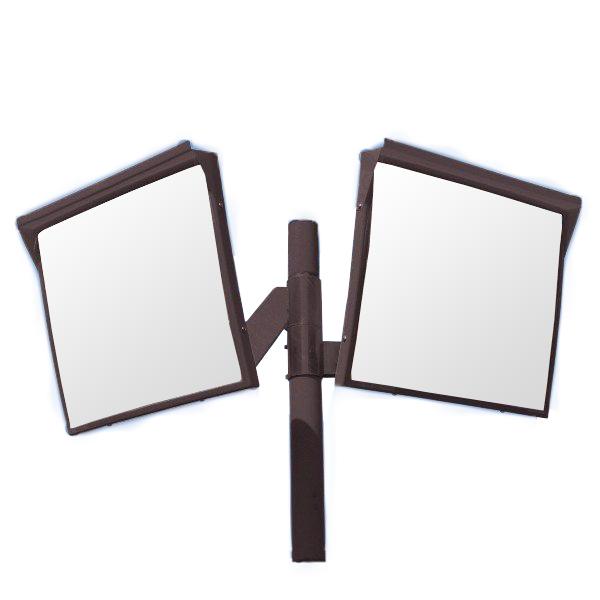 カーブミラー 角型600mm×500mm アクリル製ミラー2面鏡と支柱セット(道路反射鏡) HPLA-角5060WP茶 二面鏡ポール付 茶