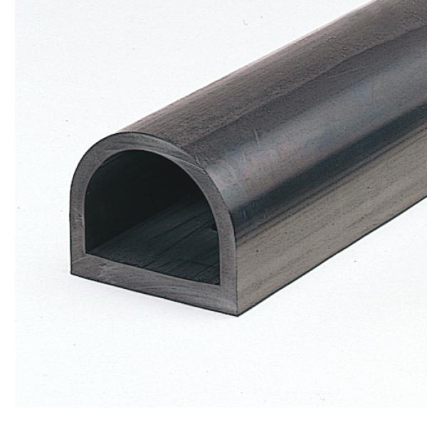 D型ゴム かまぼこ型 カーストッパー ターミナルラバー (穴なし金具なし) TRN13-20 H130×W150×L2000 厚さ20mm