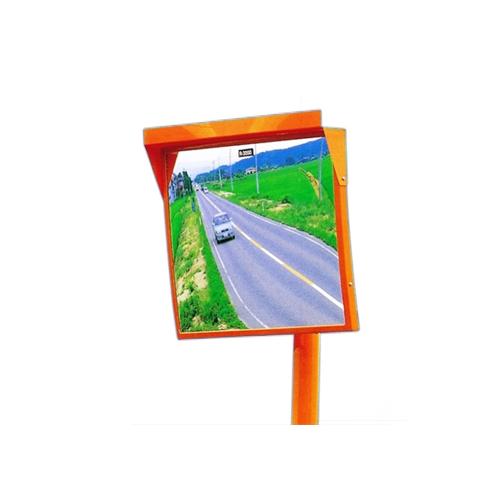 カーブミラー 角型450mm×600mm ステンレス製ミラー支柱セット(道路反射鏡) HPLS-角4560SP(オレンジ)