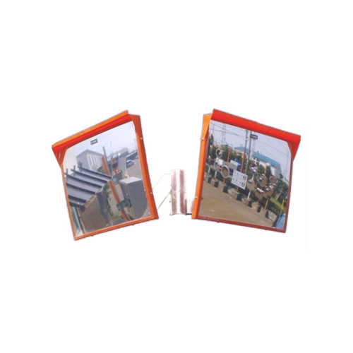 カーブミラー 角型450mm×600mm ステンレス製ミラー2面鏡セット(道路反射鏡) HPLS-角4560W(オレンジ)