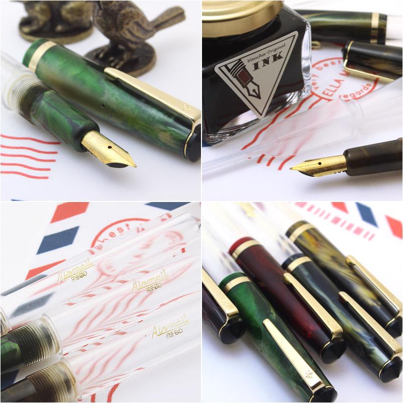 直接从研究水晶喷泉笔在股票的厂家! 赛璐珞示威者喷泉注射器充气绿色 / 棕色 / 黑色 / 紫色 / 蓝色