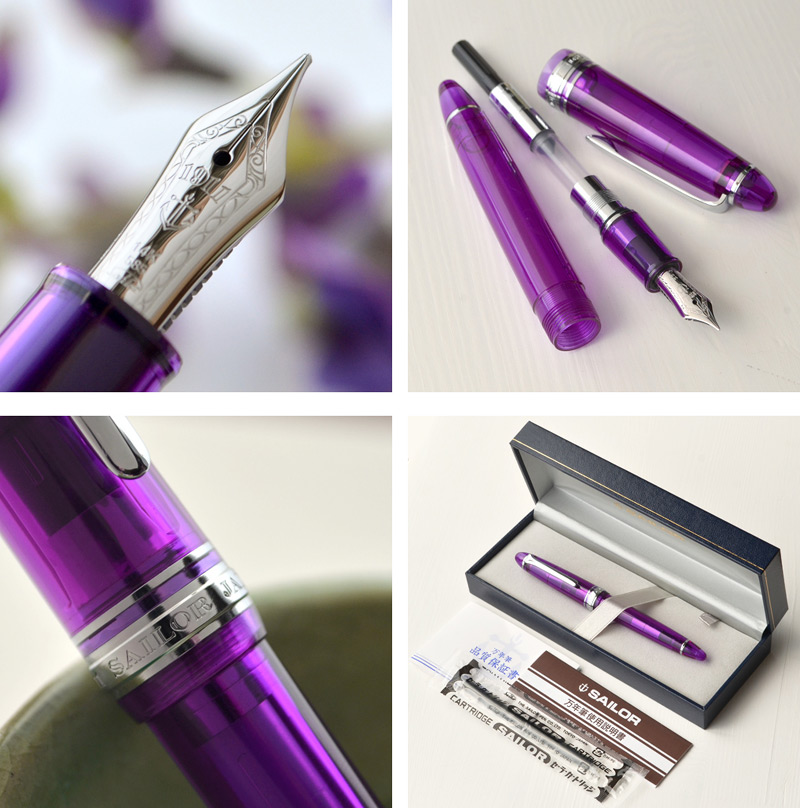 Wanchai limited 14 gold fountain pen transparent profit 枝垂re Fujiwara noble and mysterious images with light mauve 11-1029