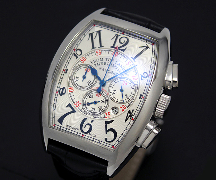 Few limited production! Franck Muller charm! Chronograph tonneau watch quartz expression 24-hour total pop index modern classical