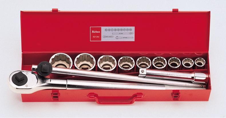 """Ko-ken 6212M 3/4""""(19mm)sq. Socket 12 Pieces Set/metal Case"""