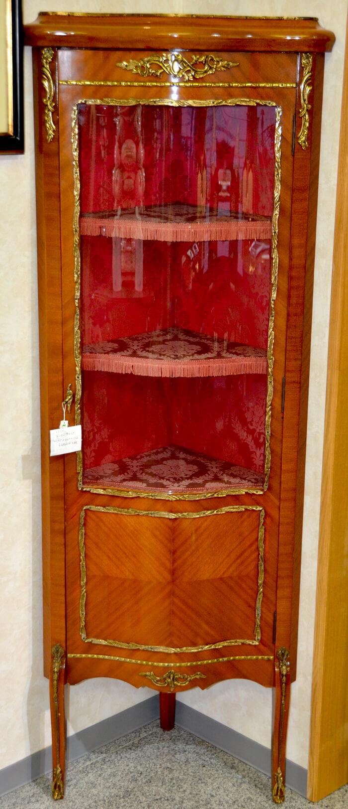 イタリア/コーナーキャビネット/茶/フロントガラス/ヨーロッパ輸入家具