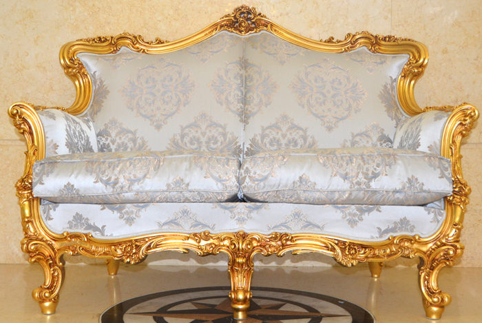 イタリア製/SILIK社/2シーターソファ/ロココスタイル/中世古典家具
