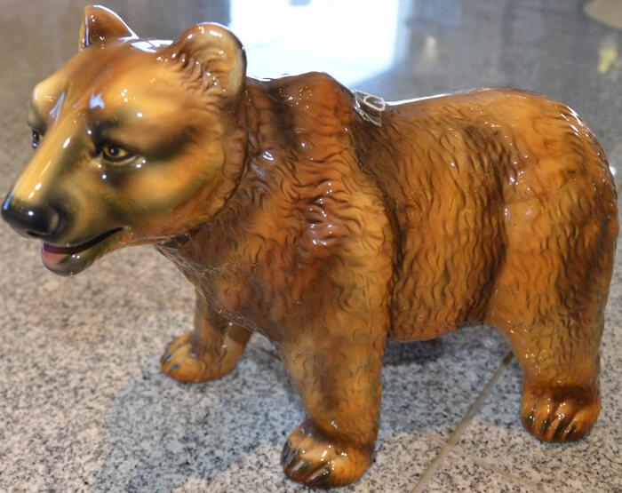 陶器製/クマ/熊/茶/アニマルオーナメント-ガーデニング/屋外屋内