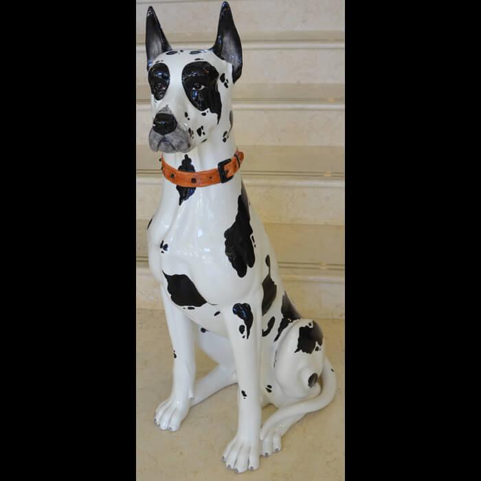 陶器製/犬/白黒ブチ/お座り/自然な色合いアニマルオーナメント/ガーデニング/屋外屋内