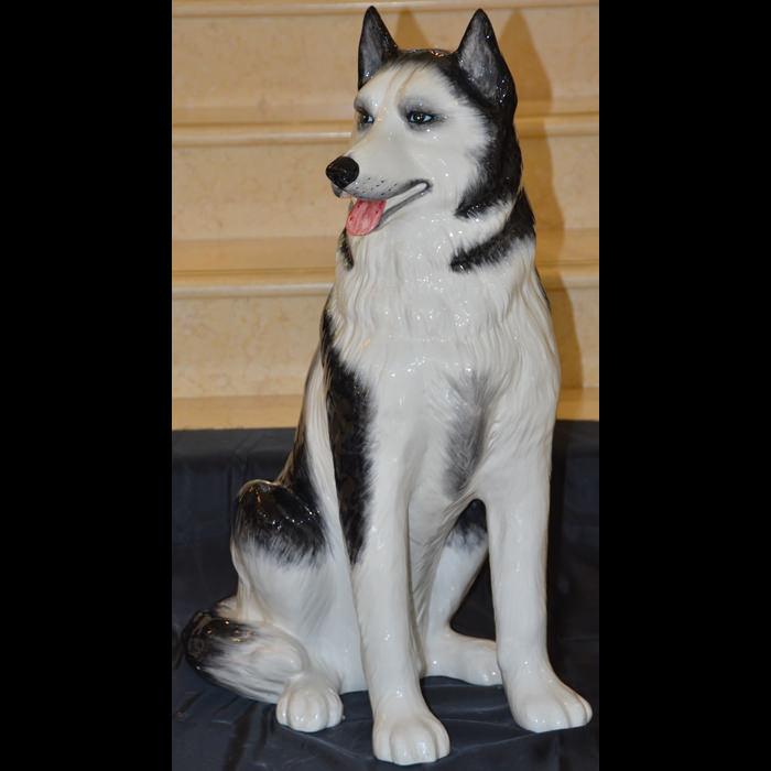 陶器製/犬/ハスキー/お座り自然な色合い・表情豊かなアニマルオーナメント-ガーデニング/屋外屋内
