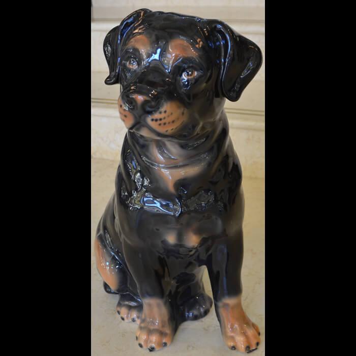 陶器製/犬/垂れ耳/お座り/アニマルオーナメント/ガーデニング/屋外屋内