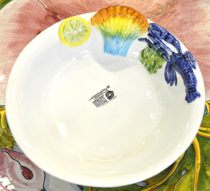 イタリア/地中海パスタ皿/ディナープレート/花/ホワイト