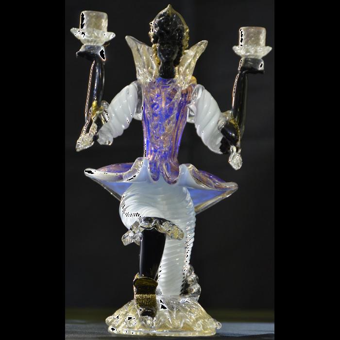 イタリア(イタリー)製/ベネチアンガラス/ベネチアングラス/ヴェネチア人形(一人)/ブルー/イベリア IBERIA