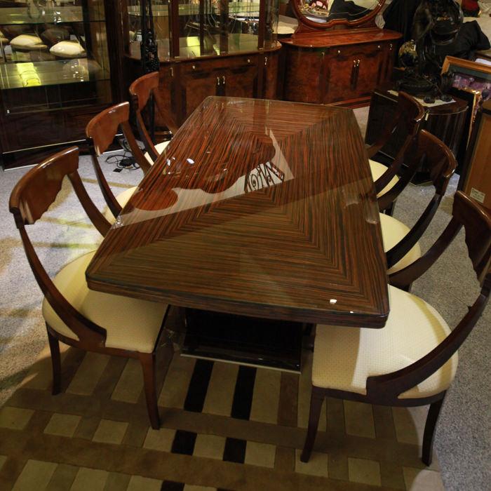 イタリア/フルジーニ社/ダニングテーブルセット7点セット/輸入家具