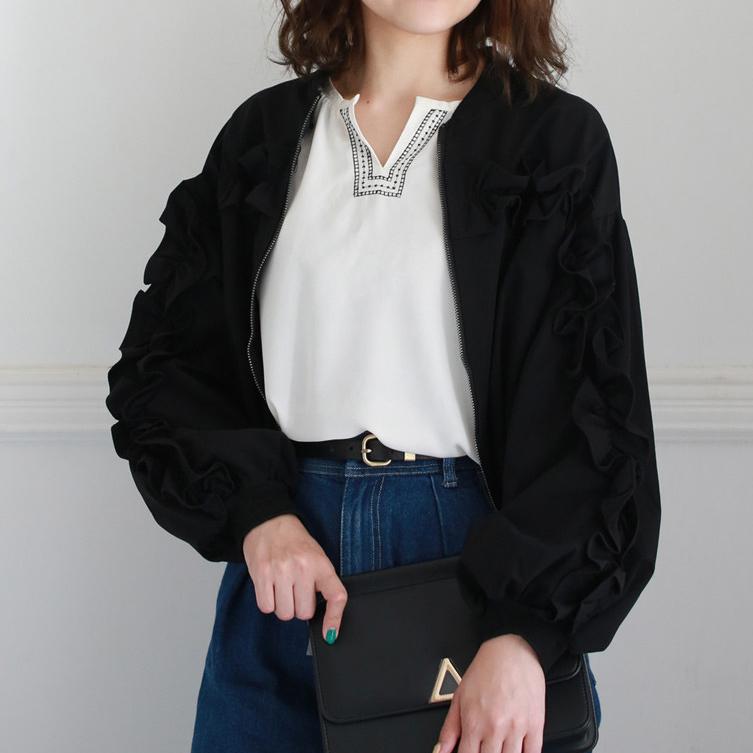フリルデザイン ブルゾン ジャケットレディース ファッション ジャケット